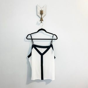 NWT BP. White with Black Trim Tank Top Blouse